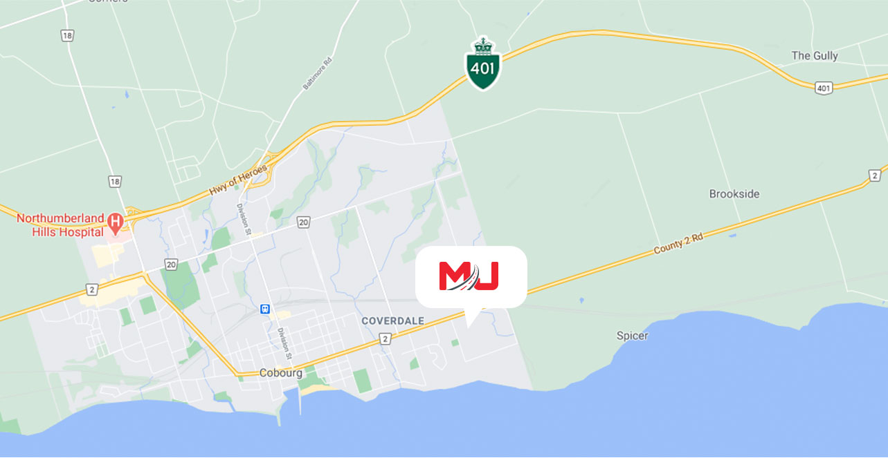 A google map of MJ Express' location in Cobourg, ON relative to the 401 highway in Ontario.